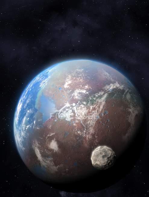 Illustration eines extrasolaren Planeten, der fiktive Sterne umkreist. — Stockfoto