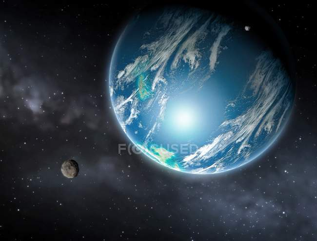 Illustration of extrasolar planet with moon orbiting fictional star. — Stock Photo