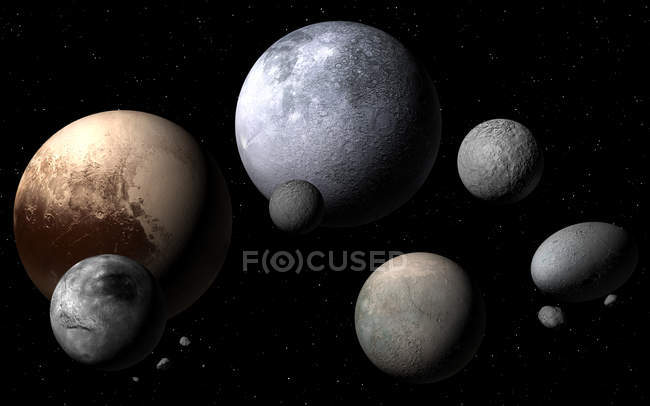 Dwarf planets and moons, digital illustration. — Stock Photo