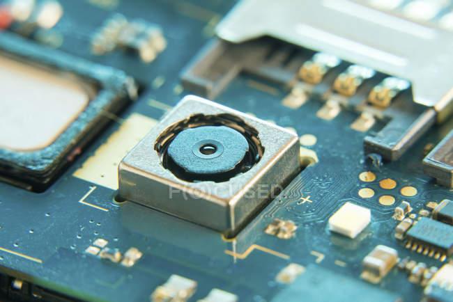 Carte de circuit téléphonique mobile, plein cadre . — Photo de stock