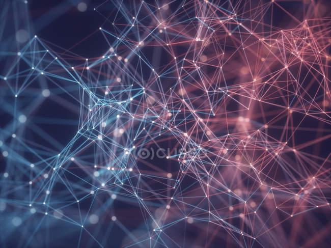 Abstraktes Netzwerk aus Linien und Verbindungspunkten, Illustration. — Stockfoto