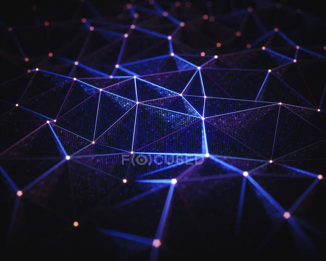 Rete astratta di linee e punti di collegamento, illustrazione. — Foto stock