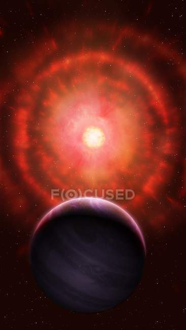 Illustration of red giant star shedding outer layers. — Stock Photo