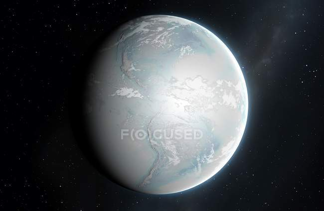Illustration of planet Earth with continents covered in ice. — Stock Photo