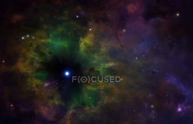 Illustration of imaginary planetary nebula in space. — Stock Photo