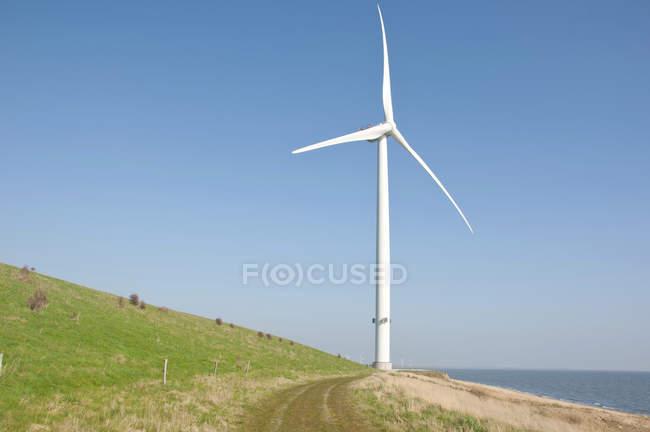 Coastal wind turbine against blue sky in Esbjerg, Denmark — Stock Photo