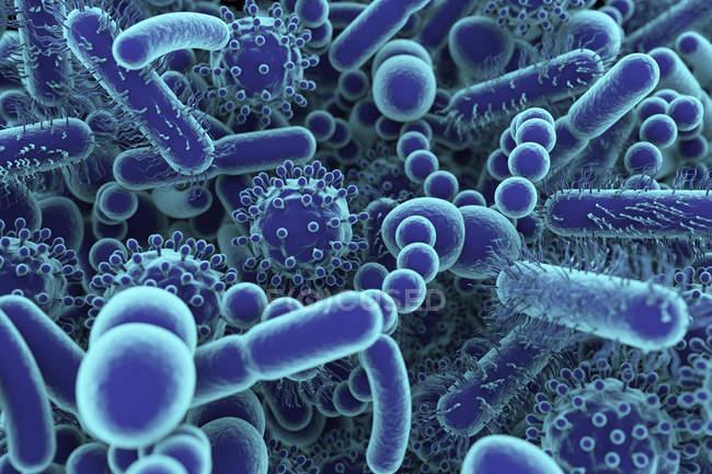 Ilustração conceitual de micróbios microbiome humanos, quadro completo . — Fotografia de Stock