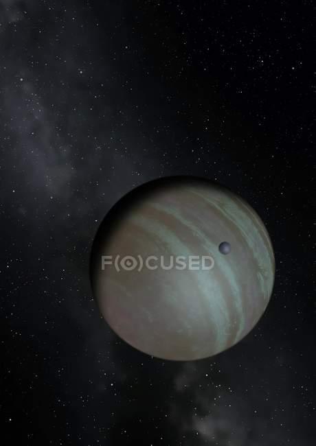 Произведение тёмно exoplanet в созвездии Ориона в пространстве — стоковое фото