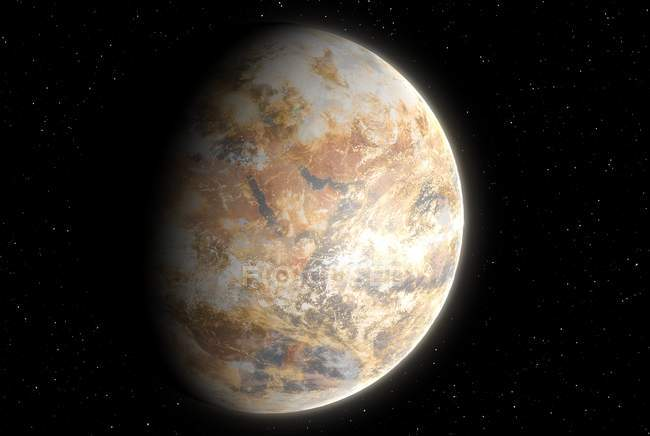 Artwork of possible future Earth with atmosphere riddled with dust and pollution and dry surface. — Stock Photo