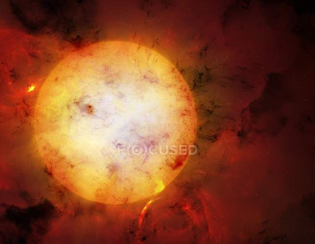 Digital illustration of possible structures surrounding Tabbys Star in space. — Stock Photo