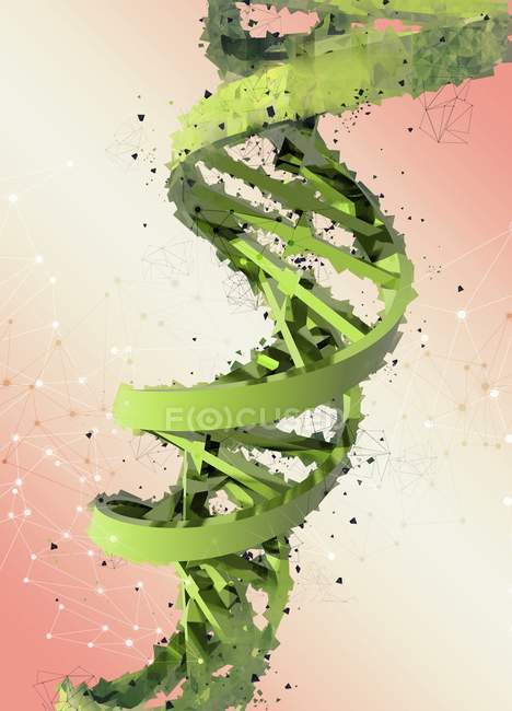 Digital artwork of DNA strand on plain background. — Stock Photo
