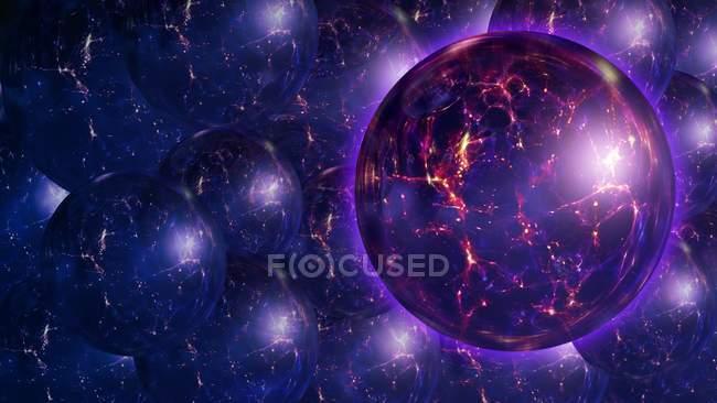 Ilustração digital de múltiplos universos bolha — Fotografia de Stock