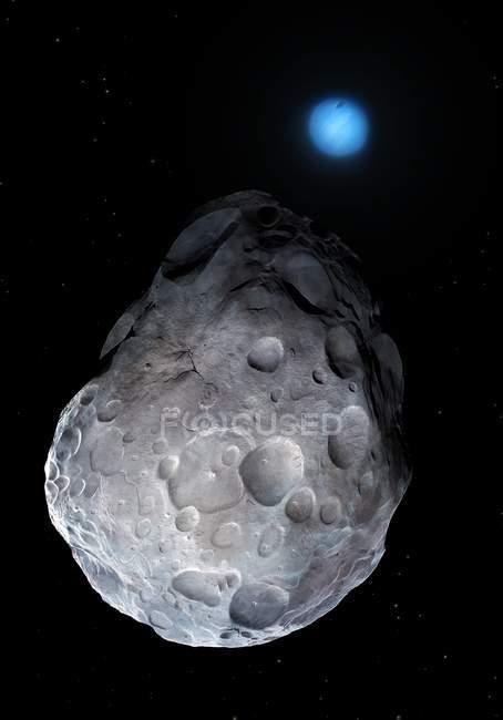 Illustration of Neptune from orbit of moon Nereid. — Stock Photo