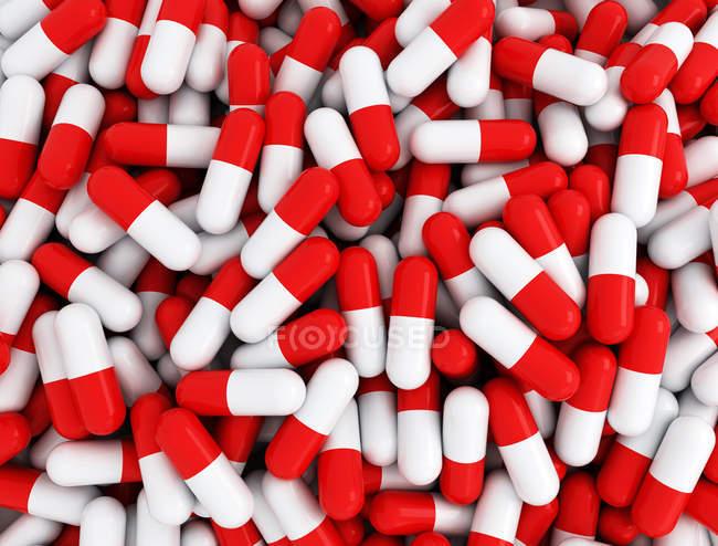 Куча красных капсул, цифровая иллюстрация . — стоковое фото