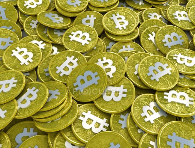 Primer plano de bitcoins, Ilustración digital. - foto de stock
