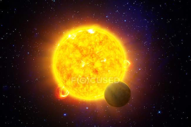 Glowing orange star with planet, digital illustration. — Stock Photo