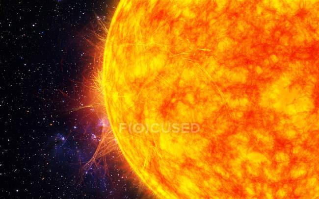 Étoile solaire brillante avec éruptions solaires, illustration numérique . — Photo de stock