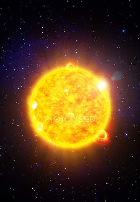 Glowing Sun star with solar flares, digital illustration. — Stock Photo