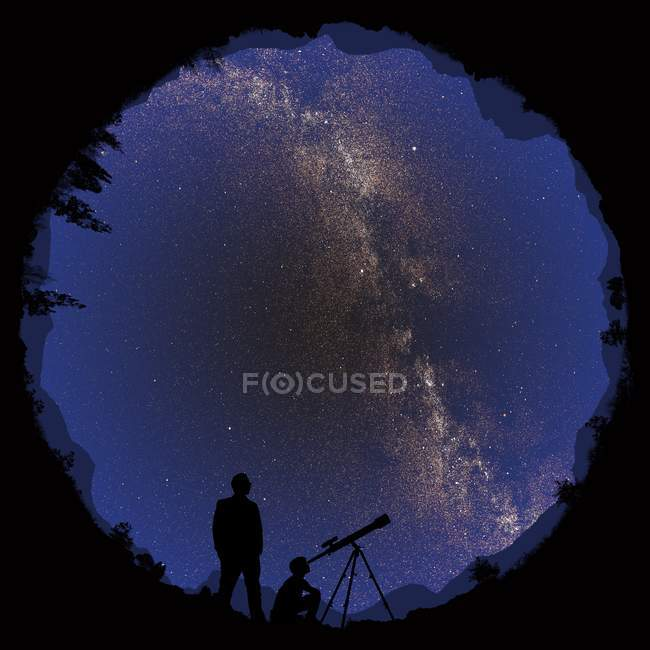 Illustration of 360-degree view of pair of astronomers observing night sky. — Stock Photo