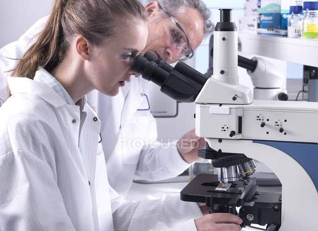 Scientists viewing sample on glass slide under light microscope. — Stock Photo
