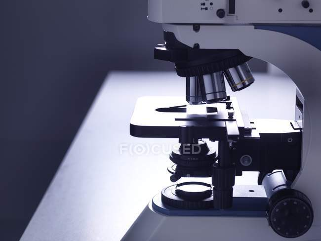 Still life of microscope on laboratory bench. — Stock Photo