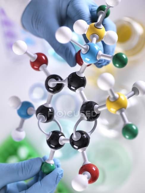 Исследователь разрабатывает химическую формулу с молекулярной моделью . — стоковое фото