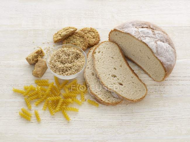 Top view of bread and pasta, studio shot. — Stock Photo
