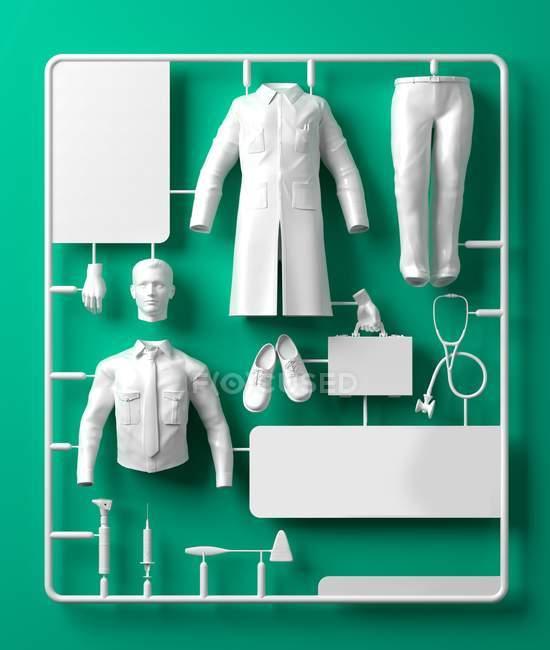 Доктор комплект модели на зеленом фоне, цифровой иллюстрации — стоковое фото