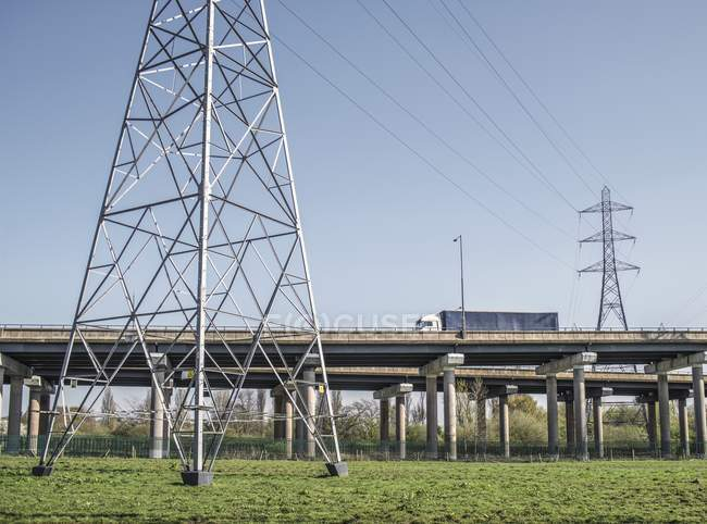 Transportation infrastructure with flyovers at motorway interchange in West Bromwich, West Midlands, UK. — Stock Photo
