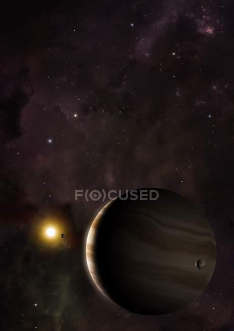 Ilustración del exoplaneta Avispa 39b y Avispa 39 estrellas en la distancia . - foto de stock