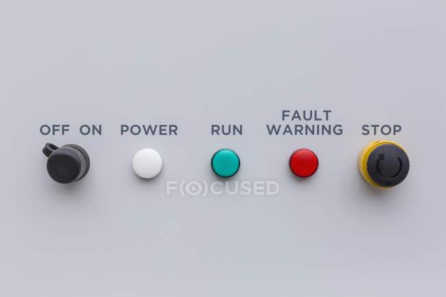 Простий пульт управління з світлових індикаторів. — стокове фото