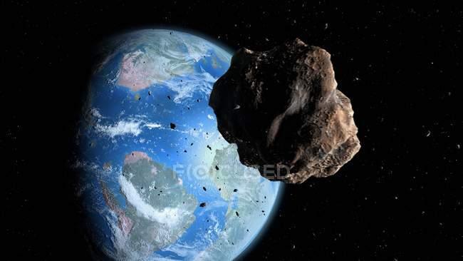 Ilustración digital de asteroides acercándose a la Tierra Cretácea antes del exterminio de los dinosaurios . - foto de stock