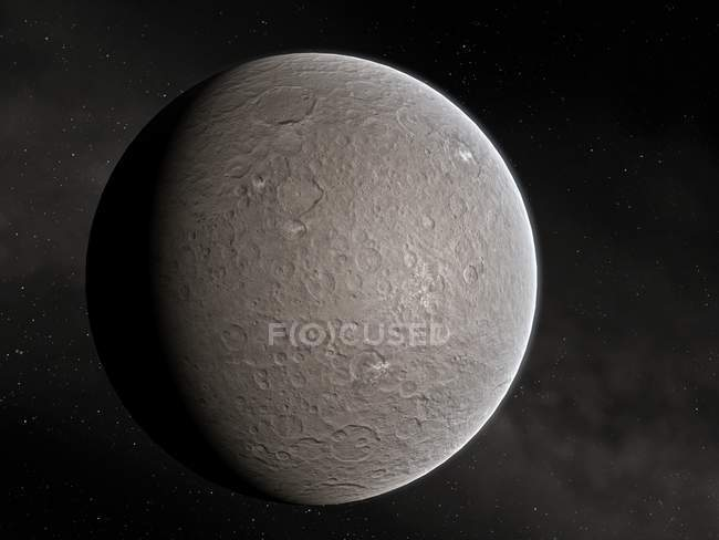 Dwarf planet Ceres in asteroid belt, illustration. — Stock Photo