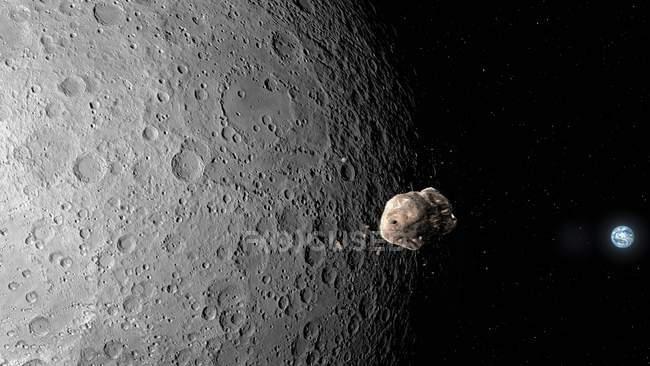 Illustration d'un astéroïde passant de la Lune vers la Terre . — Photo de stock
