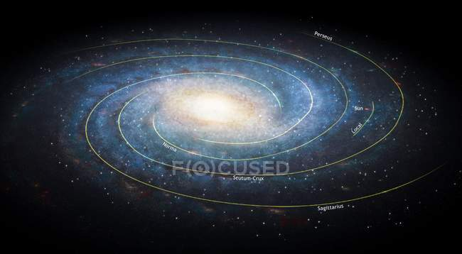 Ілюстрація галактиці Чумацький шлях, видно з космосу. — стокове фото