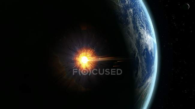 Illustration of large asteroid colliding with Earth on Yucatan Peninsula in Mexico leading to dinosaurs extermination. — Stock Photo
