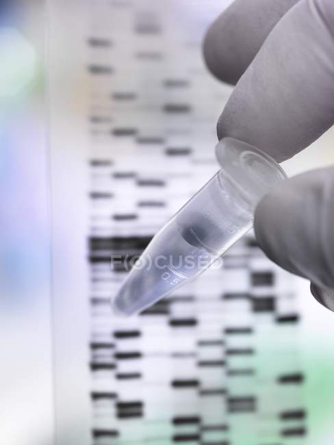Scientist holding DNA sample in tube with autoradiograph on DNA gel. — Stock Photo