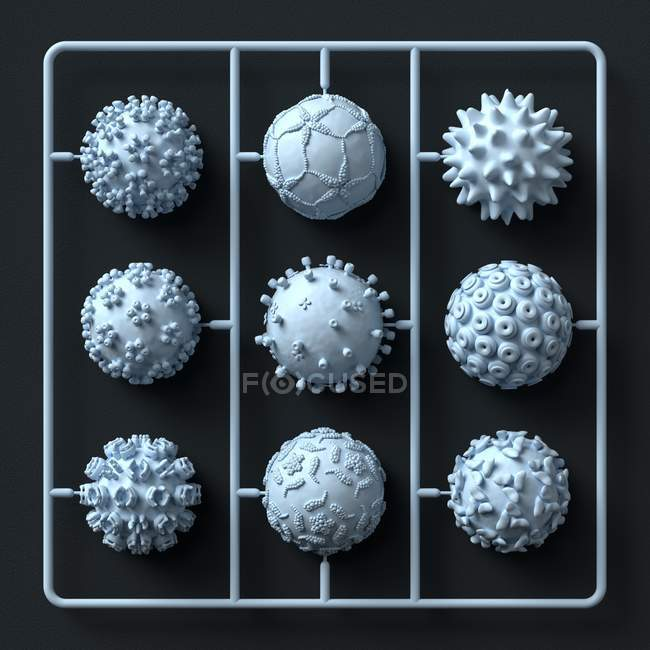Model virus particles kit, illustration. — Stock Photo