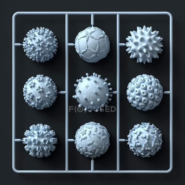 Modelo kit de partículas de virus, Ilustración. - foto de stock