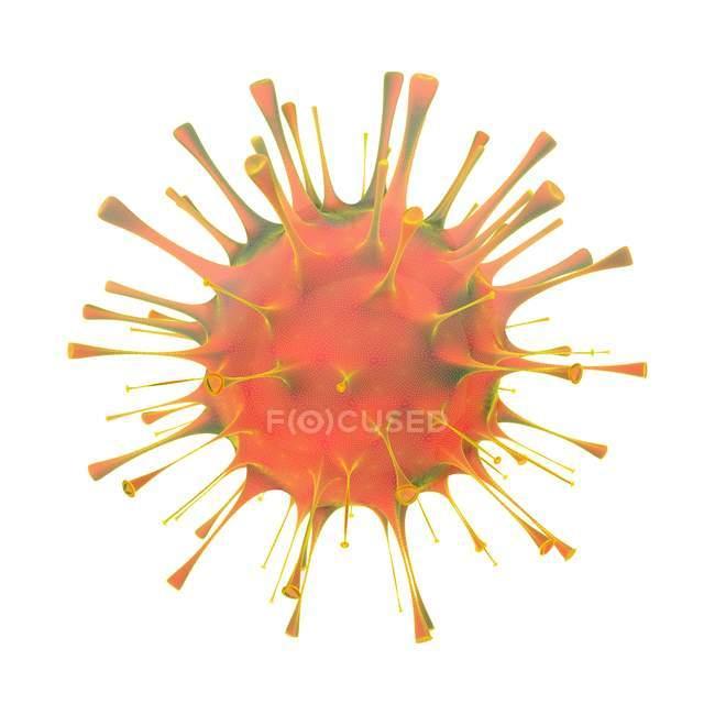 Particella di ortomixovirus rosso su sfondo bianco, illustrazione . — Foto stock