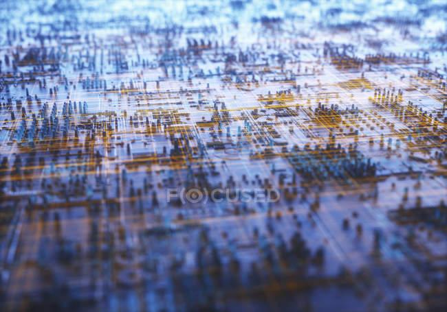 Технологическая структура абстрактный микрочип, Иллюстрация. — стоковое фото