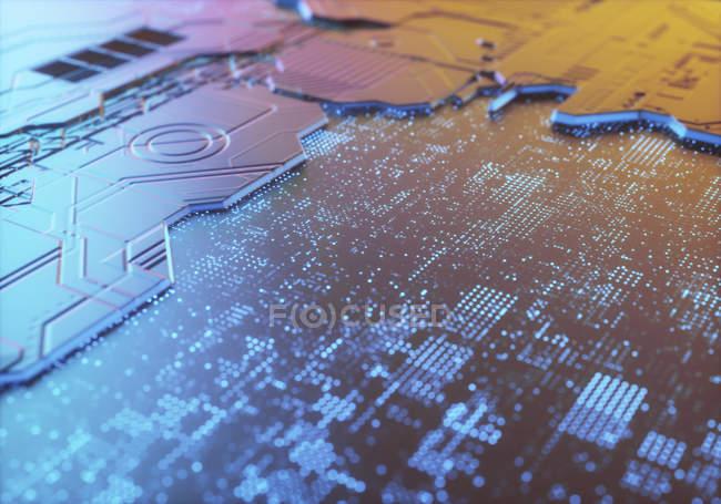 Анотація поверхні друкованій платі, ілюстрація. — стокове фото