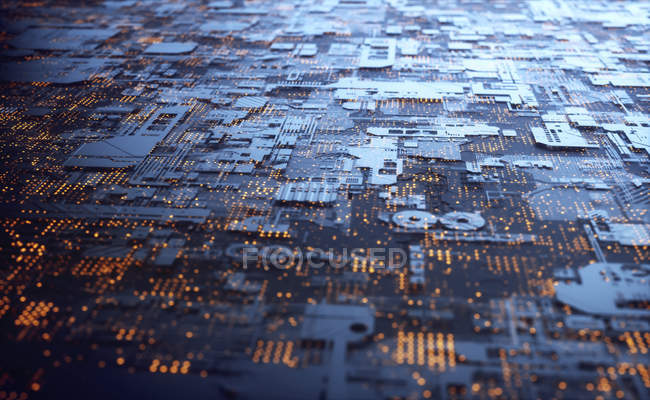 Abstract surface of circuit board, illustration. — Stock Photo