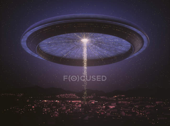 Alien space ship over city, digital illustration. — Stock Photo