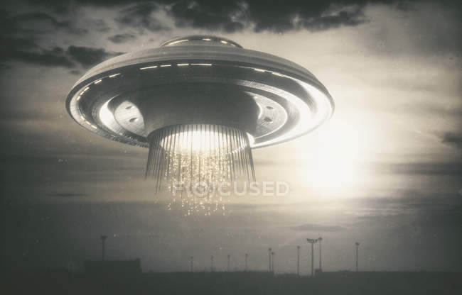 Alien space ship in cloudy sky, digital illustration. — Stock Photo