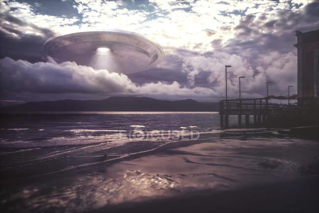 Alien space ship through clouds, digital illustration. — Stock Photo