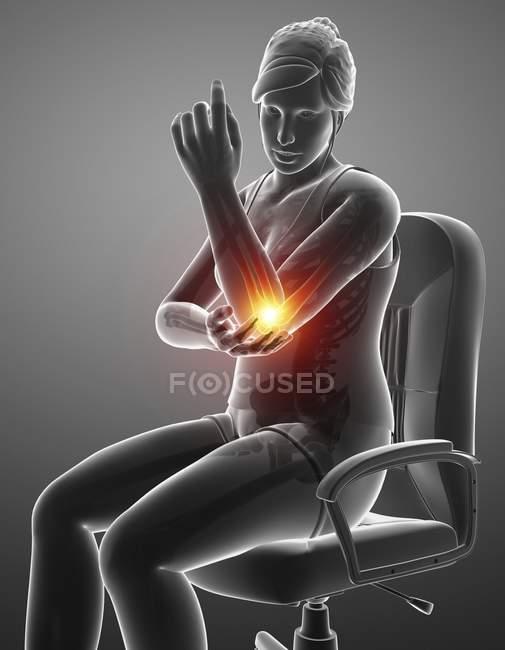Sentado na silhueta feminina da cadeira com dor de cotovelo, ilustração digital. — Fotografia de Stock