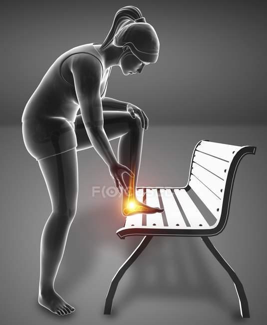Apoyado en el banco silueta femenina con dolor en el pie, ilustración digital . - foto de stock