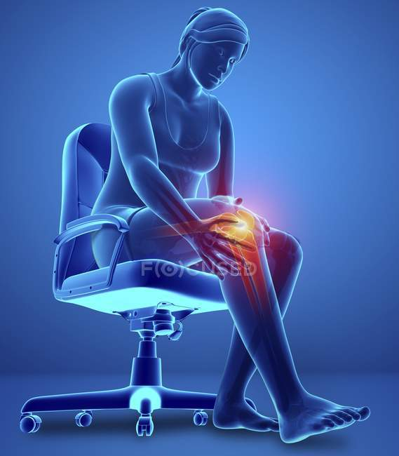 Sentado en silla silueta femenina con dolor de rodilla, ilustración digital . - foto de stock