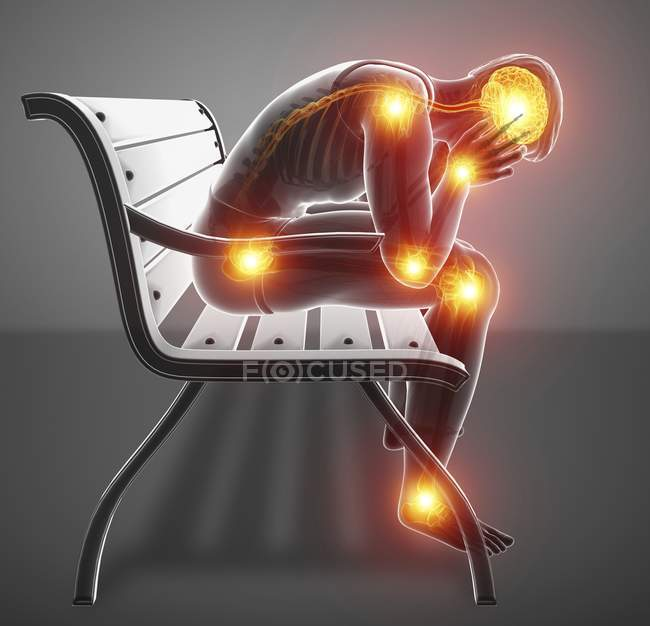 Sitting on bench male silhouette with joint pain and headache, digital illustration. — Stock Photo